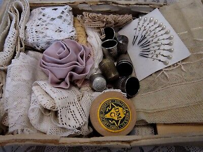 Mixed Lot of Antique French Lace lengths/Thimbles & Pins