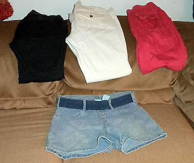 4 Pr Lot of Maternity Pants Size 4-6 & S w/ 2 Prs Pants,1 Capri & 1 Shorts