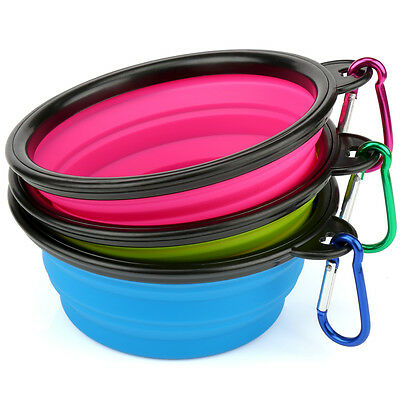 3 x Collapsible Portable Travel Dog Cat Pet Bowl Silicone Food Water Small Puppy