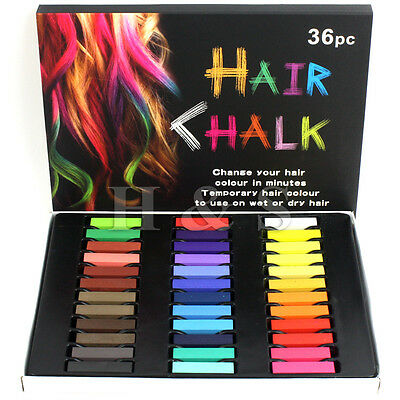 36 Colours High Quality Temporary Hair Dye Pastels Chalk Kit Set Pink Purple UK