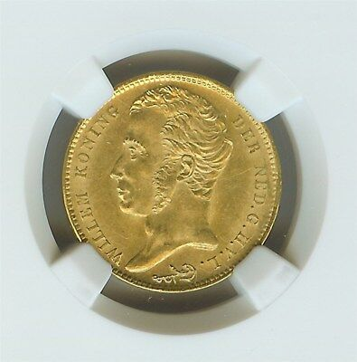 Netherlands 1825-B Gold 10 Gulden  Ngc Ms62  Looks 64!