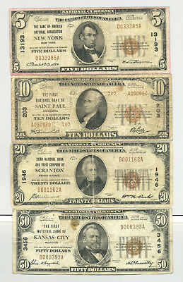 Series 1929 $5, $10, $20 and $50 type 1 and 2 National Banknotes no reserve