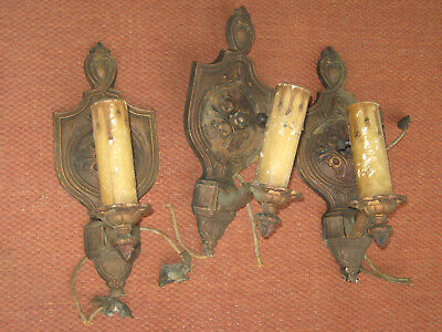 Vintage/Antique 1920'S Electric Wall Sconce Light Fixtures Set/3 Brass Plated