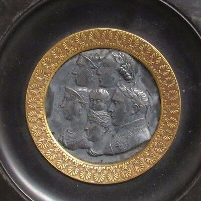 Antique Italian 1800's Plaque Silver Colored Medallion with Emperors ?? Framed