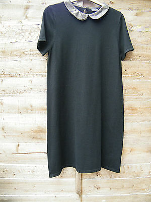 M&S Black Knitted Collared Stretch Dress Size 14