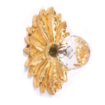 Vintage Hollywood REGENCY Small Crystal & Gold Drawer Pull Knob w/ Backing