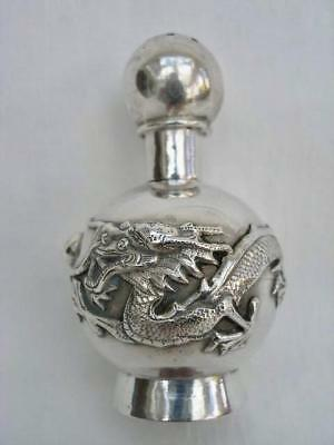 Antique Hallmarked Chinese Silver Dragon Decorated Pepper Pot.