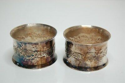 Napkin Rings Baroque Pattern by Wallace Silverplate - Pair