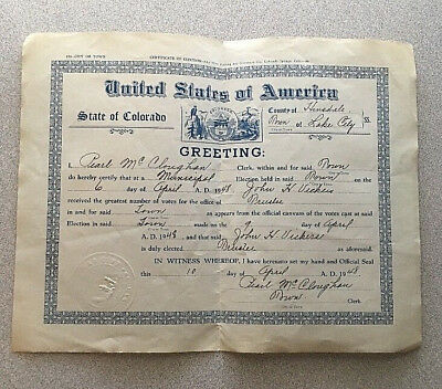 Lake City, Colorado Hinsdale County Certificate of Election (1948)