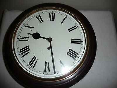 Mahogany Case, School / Station Type Wall Clock, Fusee Movement, Excellent Cond.