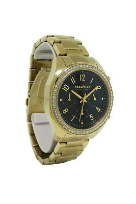 Caravelle New York 44L116 Women's Analog Round Black Gold Tone Crystal Watch