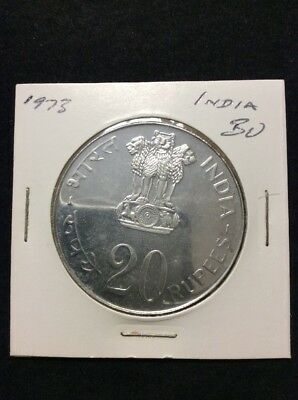 India 1973 Proof Grow More Food 20 Rupees Silver Coin RARE