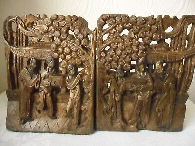 Antique Chinese Carved Wood Bookends