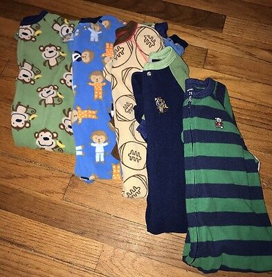 Boys Size 24m/2t Footed Fleece Pajama  Lot : 5 Pairs
