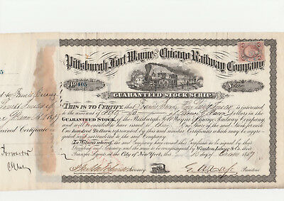 Pittsburgh Fort Wayne and Chicago RW Co. 1869 s/w