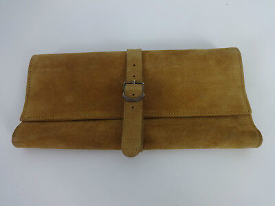 Womens Vintage Purse / Wallet Tan Real Suede Newey Made In England Buckle Fasten