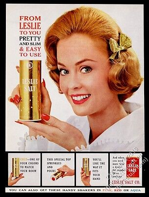 1961 Leslie salt smiling woman with gold foil shaker container photo print ad