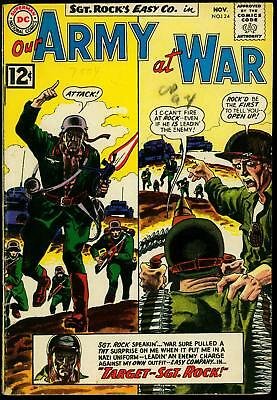 Our Army at War #124 1962- Sgt Rock- DC War comic- Kubert cover VG