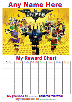 Personalised Childrens A4 Reward Behaviour Chart Lego Batman And Stickers !(1)