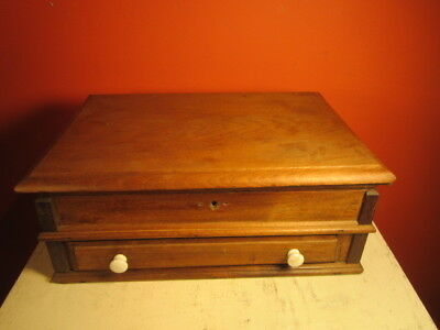 Victorian Thread / Sewing Box Walnut Lift Top One Drawer Porcelain Knobs Mk F NR
