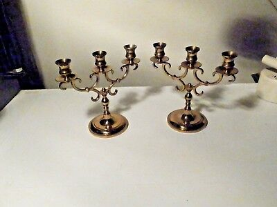 Pair Of Wilton Brass Triple Candle Holders Nice Used Condition