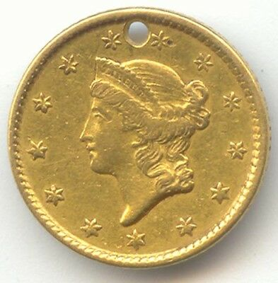 1851 Gold Dollar, Type 1, XF Details, Hole, True Auction, No Reserve
