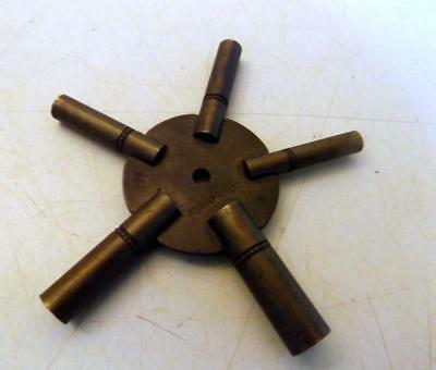 Antique Brass 5-in-1 Clock Winding Key Swiss Made Numbers 0, 4, 6, 8, 11