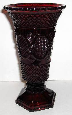 "Vtg Avon 1876 Cape Cod Dark Ruby Red 8"" Pedestal Vase Diamond Pattern - Mint!"
