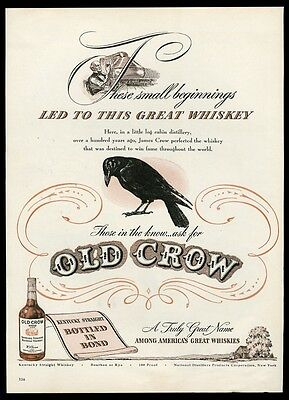 1946 Old Crow Bourbon whiskey black bird & 1st still art vintage print ad