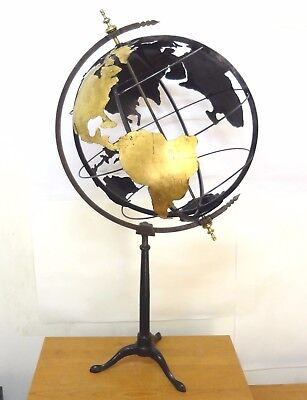 Rare Antique 1850 French Huge 16´´ Terrestrial Globe Metal Continent Rotat. Axis