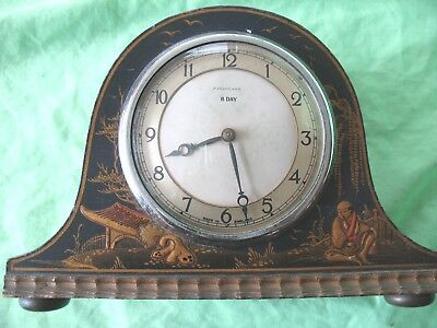 Charming old antique Japanese Lacquered Finnigans 8 day mantle clock by Smiths