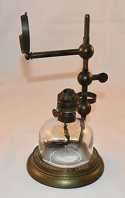 Part old brass Bockett Microscope Oil lamp - Collins London