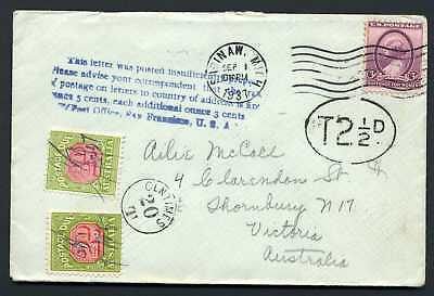 USA 1937 Cover to Australia - 2d & 1/2d Postage Dues affixed