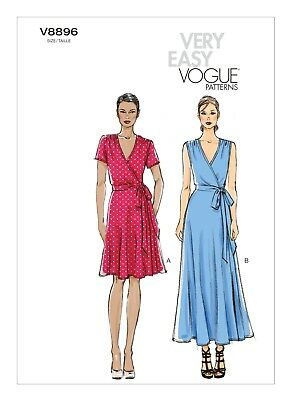 Very Easy Vogue SEWING PATTERN V8896 Misses Wrap Dress 8-16 Or 16-24