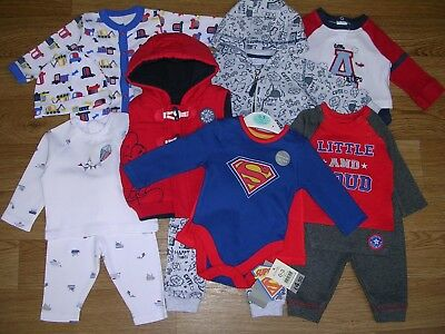 MICKEY MOUSE F&F SUPERMAN etc Boys Red Bundle Outfits Tops Shirt Jeans Age 0-3m