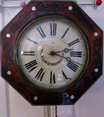 Antique Wall Clock Mother of Pearl Inlaid Hexagonal Wood Case, Brass Weights