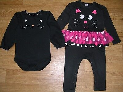 Cute Girls Little Black CAT HALLOWEEN TuTu Outfit Set Age 18-24m