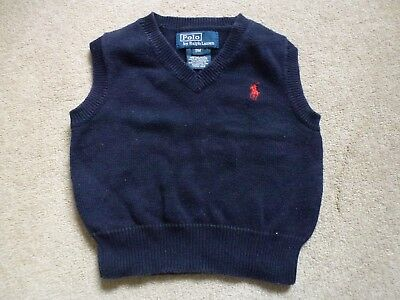 RALPH LAUREN Baby Boys 100% Cotton Sleeveless Jumper Tank Top In Navy Age 9M