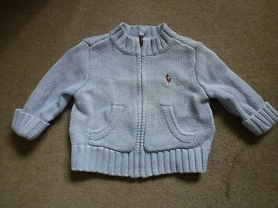 RALPH LAUREN Baby Boys 100% Cotton Cardigan In Pale Blue Age 3m