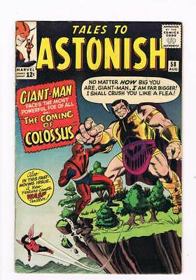 Tales to Astonish # 58  The Coming of Colossus ! grade 5.0 scarce book !!