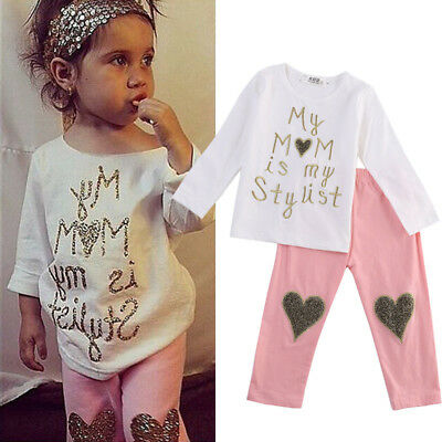 UK Stock Newborn Baby Kid Girls Clothes Floral Hooded Tops+Long Pant Outfits Set