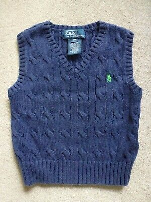 POLO BY RALPH LAUREN Boys Cotton Navy S/less Cable-Knit Jumper Tank Top Age 9M