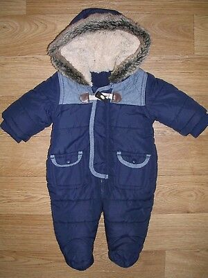 MATALAN Boys Navy Blue Quilted SNOWSUIT Winter Coat Age Newborn Small Baby