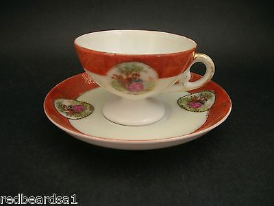 Vintage Miniature Doll European Porcelain Cup Saucer Romantic Courting Couple