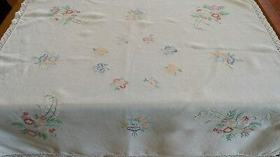 Vintage Hand Embroidered Tablecloth lace edges 35 x 37 inches