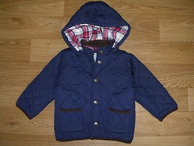 JOHN LEWIS Boys Navy Blue Quilted Hooded Coat Jacket Age 12-18m