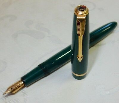 Vintage Parker Slimfold Fountain Pen - Green - 14K Gold Med Smooth Nib