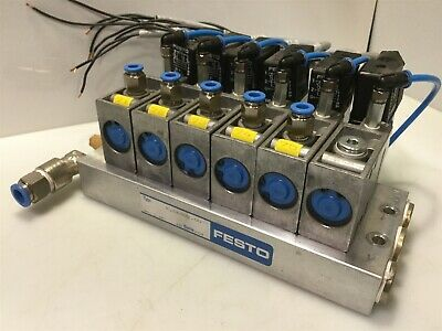 Bank of 6 Festo Valves MFH-3 w/H722 Manifold & 34 411 Solenoid Coil 24VDC/42VAC
