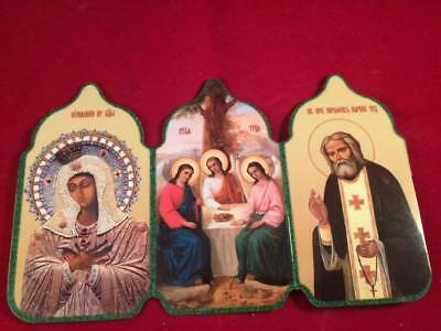 Orthodox Christian Triptych Paper Icon from St. Seraphim Diveyevo Convent