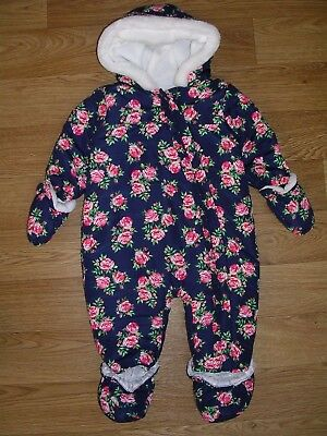 TU Girls Navy Blue Ditsy Floral Fleece Lined SNOWSUIT Winter Coat Age 6-9m